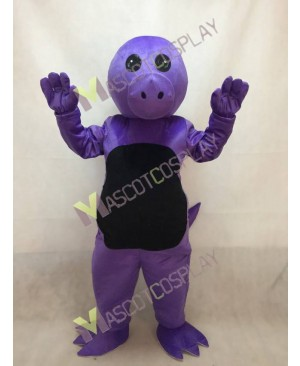 Purple Dinosaur Mascot Costume with Black Belly