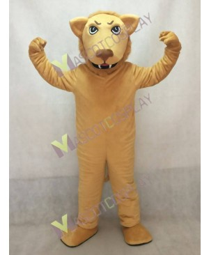 Cute Tan Leslie Lion Mascot Costume