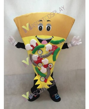 Cute Brown Cheese Pizza Mascot Costume