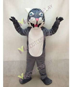 Adult Gray Wildcat Mascot Costume with Blue Eyes