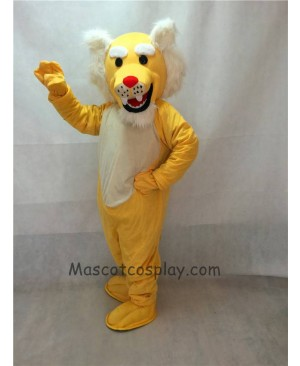 High Quality Realistic Muscle Yellow Wildcat Mascot Costume