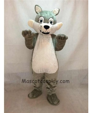 High Quality Popular Grey Gray Long-haired Wolf Mascot Adult Costume