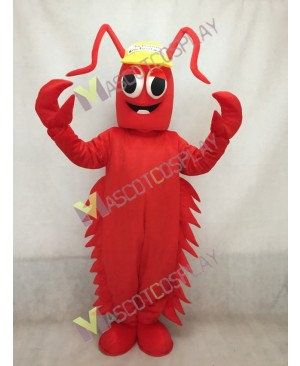 Red Conrad Crawdad Mascot Costume in Yellow Cap