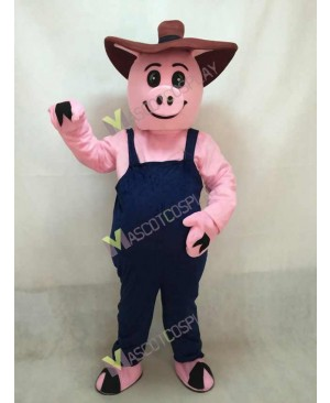 Pink Pig Farmer Hog with Overalls & Hat Mascot Costume
