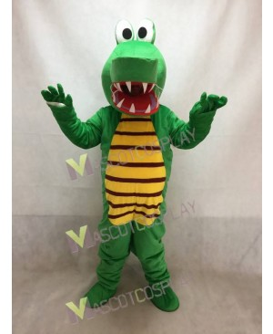 Open Mouth Green Crocodile Adult Mascot Costume