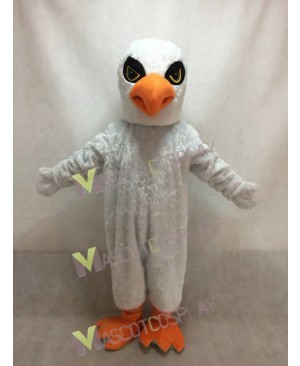 Cute White Hawk with Gloves Mascot Costume