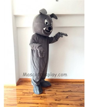 Cute Gray Buster Bulldog Mascot Costume