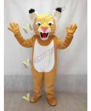 Cute Tan Wildcat Mascot Costume with White Belly