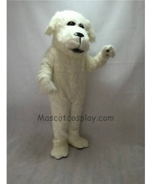Cute White Plush Fluff Dog Mascot Costume