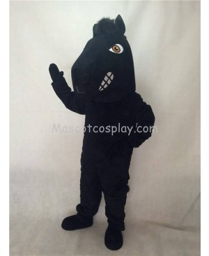 Cute New Fierce Black Stallion Horse Mascot Costume