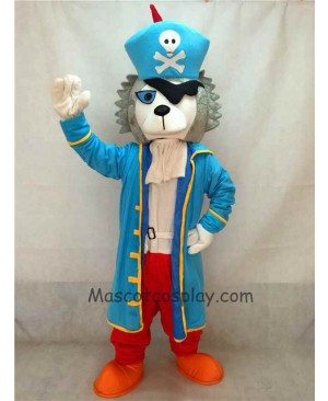 High Quality Pirate Wolf Adult Funny Mascot Costume with Blue Coat& Hat