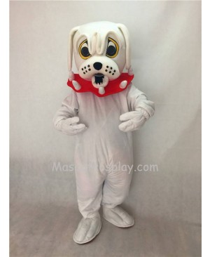 Cute White Spike Dog with Red Collar Adult Mascot Costume