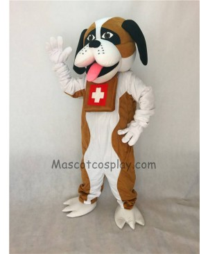 Cute New Brown and White St. Bernard Dog Mascot Costume