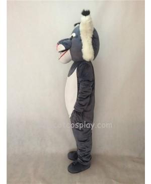 Cute Grey Wildcat Mascot Costume