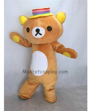 Cute Japanese Rilakkuma Bear with a Colorful Hat Mascot Costume