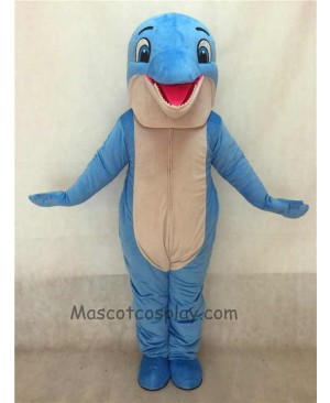 High Quality Cute New Blue Happy Dolphin Mascot Costume