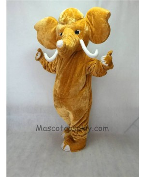 Cute Mammoth Elephant with Long Tusk Mascot Costume