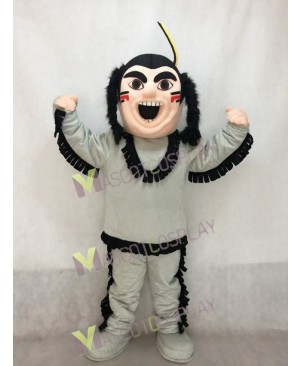 New Brave Indian in Grey Mascot Costume