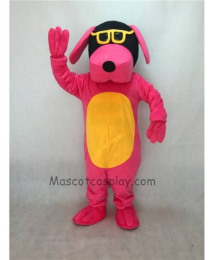 Cute Pink Dog with Yellow Belly and Glasses Adult Mascot Costume