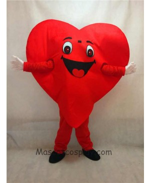 High Quality Adult Red Love Heart Mascot Costume Fancy Dress for Valentine Outfit