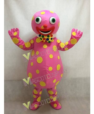 Pink Spotted Clown Mascot Adult Costume