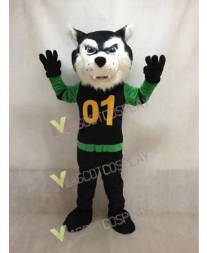 Custom Color Green and Black Shirt Bearcat Mascot Costume