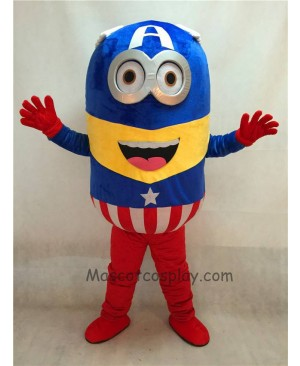 High Quality Adult Despicable Me Minions Captain America Mascot Costume Fancy Dress Outfit