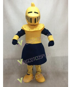 Yellow and Dark Blue Knight Mascot Costume