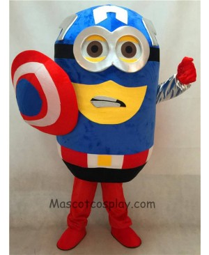 High Quality Adult Despicable Me Minions Captain America Mascot Costume with Cape and Sheild Fancy Dress Outfit
