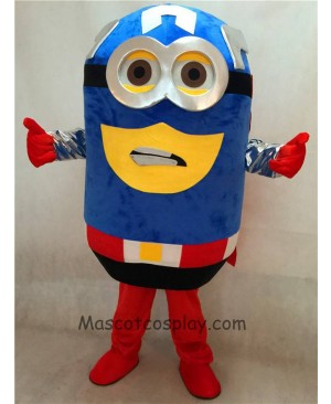 High Quality Adult Despicable Me Minions Captain America Mascot Costume with Cape Fancy Dress Outfit
