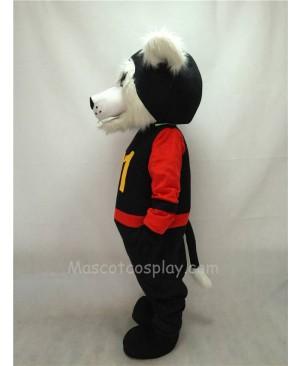 Fierce Black Bearcat Mascot Costume in Red Sleeves Coat