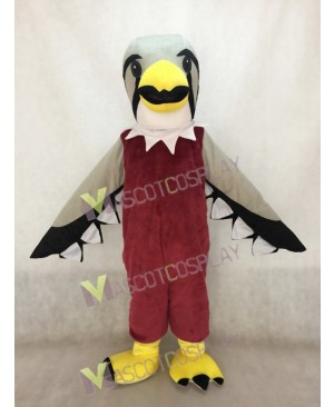 Cute Brown Falcon with Grey Wings Mascot Costume