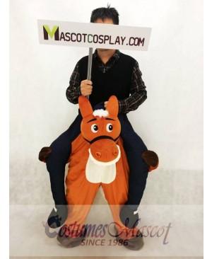Wild Western Brown Horse Carry Me Piggy Back Mascot Farm Cowboy Costume