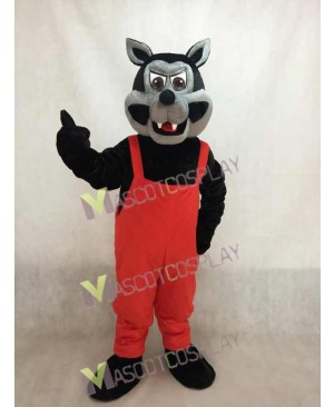New Big Bad Wolf Mascot Costume with Red Overalls