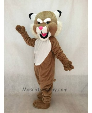 High Quality Adult Realistic Brown Muscle Wildcat Mascot Costume