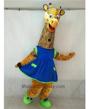 High Quality Adult Realistic New Friendly Giraffe Mascot Costume with Blue Dress
