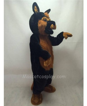 Cute Long Hair Black German Shepard Dog Mascot Costume