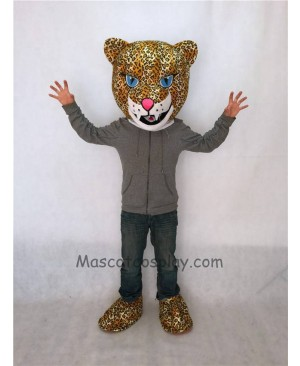 Fierce Jaguar Mascot Costume Head Only with Blue Eyes