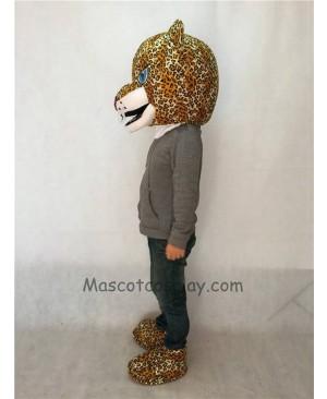 Fierce Jaguar Mascot Costume Head Only with Blue Eyes