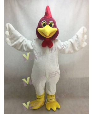 New White Proud Rooster Mascot Costume