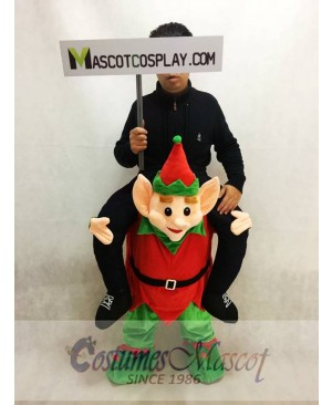 Carry Me Piggy Back Ride On Red and Green Novelty Elf Mascot Costume