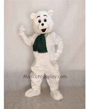 Cute White Snow Bear Mascot Costume with Scarf