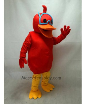 Cute Red Duck with Scarf Mascot Costume