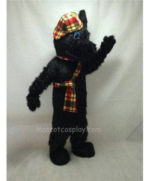 Cute Black Long Hair Scotty Dog Mascot Costume with Hat and Scarf