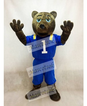 Dark Brown Bear Mascot Costume with Vest