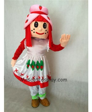 Hot Sale Adorable Realistic New Strawberry Shortcake Girl Adult Mascot Costume in White Dress