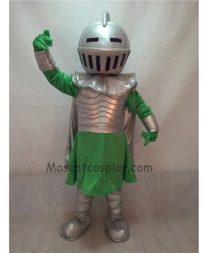 Fierce Silver Knight Mascot Costume with Green Clothing
