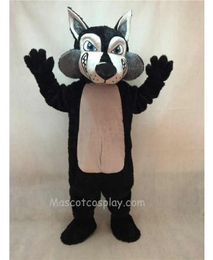 Hot Sale Adorable Realistic New Black and Grey Wolfey Wolf Mascot Costume