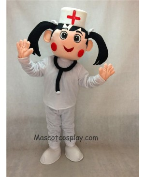 Hot Sale Adorable Realistic New Nurse in White Hat and Suit Mascot Costume with Red Flush
