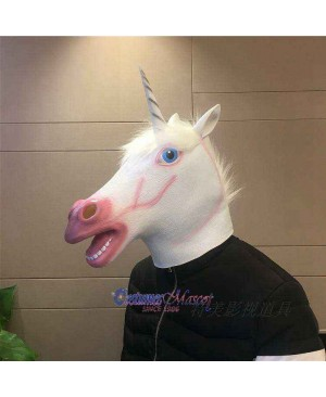 Latex White Horse Head Mask Full Head Animal Mask Cosplay Masquerade